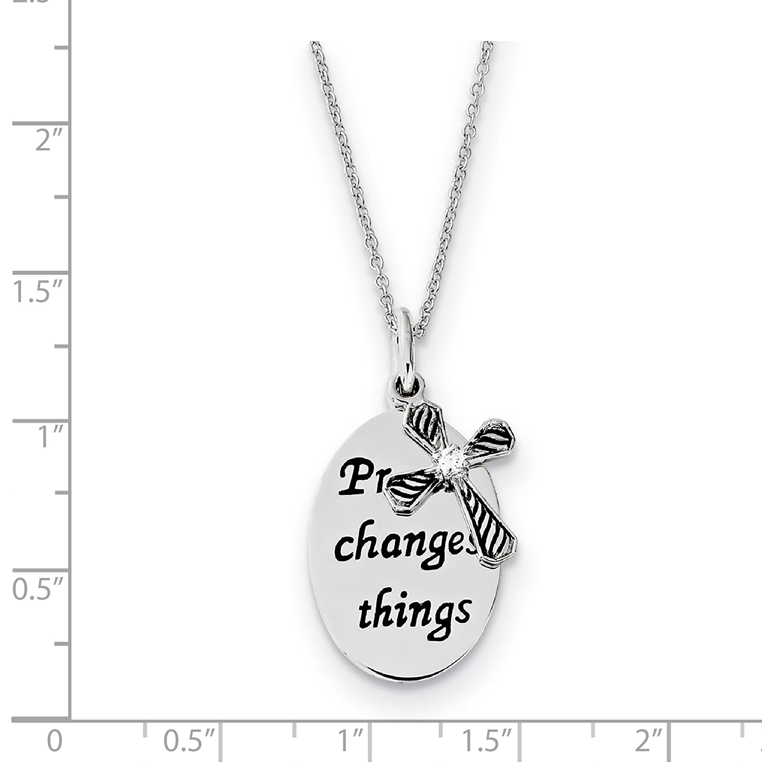 Sterling Silver Rhodium Plated Antiqued Synthetic CZ Prayer Changes Things 18in Cross Necklace.