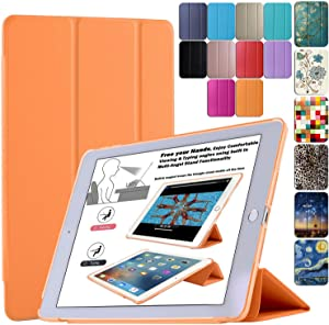 DuraSafe Cases for iPad Air 1st Generation 2013-9.7 Inch Slimline Series Lightweight Protective Cover with Dual Angle Stand & Froasted PC Back Shell - Orange