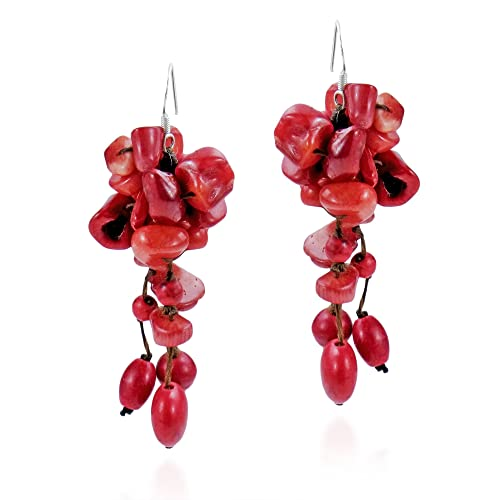 fcbc2e4d5 Cluster Drop Reconstructed Red Coral On Cotton Wax Rope .925 Sterling  Silver Fish Hook Earrings