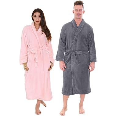 Couple Robes Set - Plush Long Length Bathrobe w/Pockets & Adjustable Belt