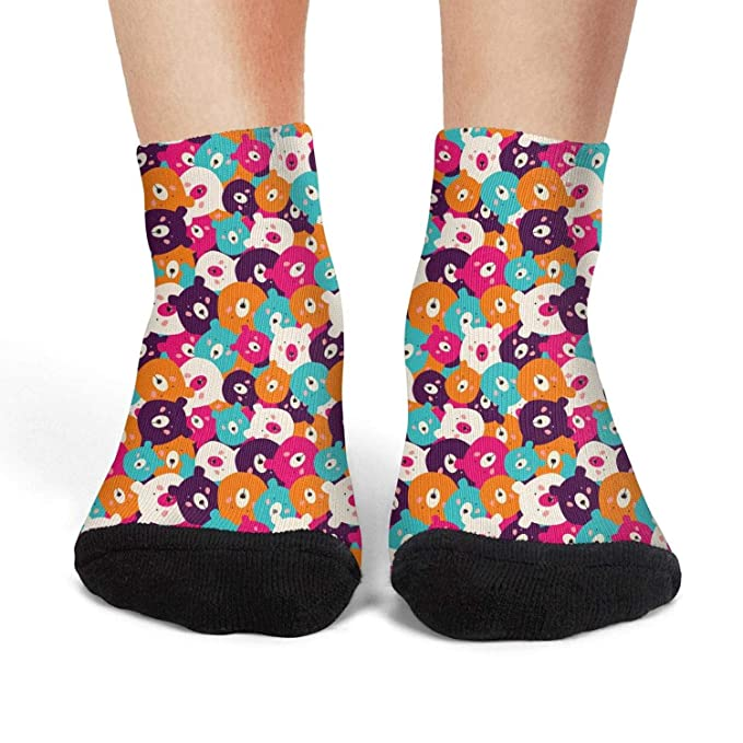 eb1f10c588e2c Casual Crew Socks for Woman baby bear Rainbow color Warmer knee ...