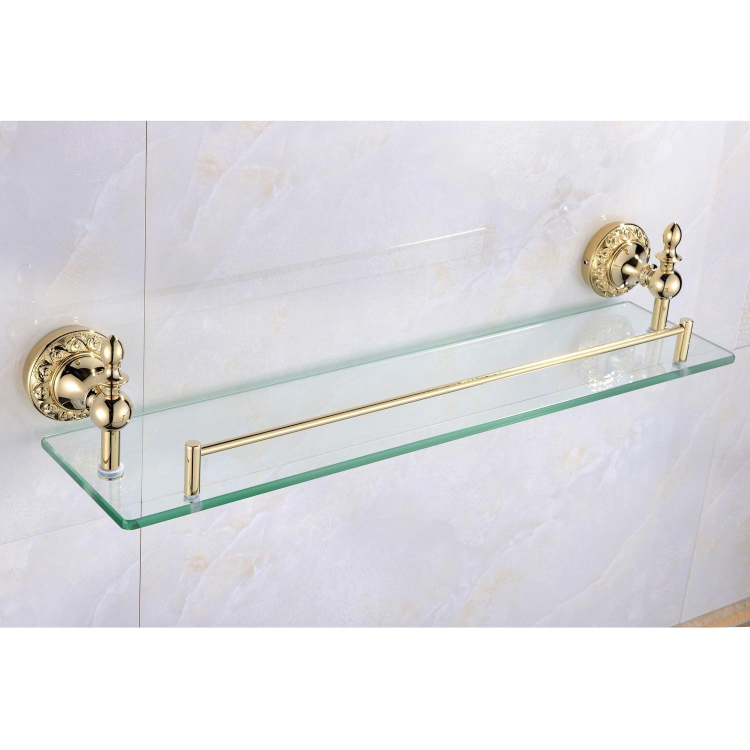 Sprinkle Wall Mount Bathroom Bath Shower Rack Antique Inspired Ti-PVD Finish Solid Brass Material Glass Shelf Lavatory Accessories Tools and Home Improvement Bthroom Towel Holder Shampoo Basket Bars