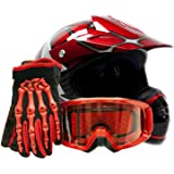 Youth Offroad Gear Combo Helmet Gloves Goggles DOT Motocross ATV Dirt Bike MX Spiderman Red, Small