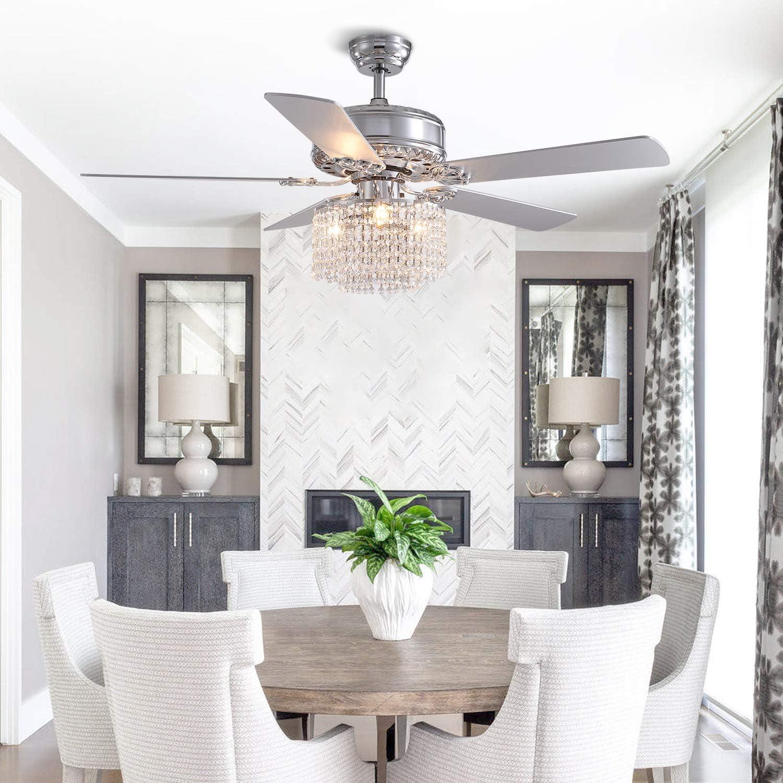 "5 Wood Blades Modern Chandelier Fan Elegant Indoor Fan Light Kit for Bedroom Dining Room SILJOY 52/""Reverse Blades Crystal Ceiling Fan with Lights and Remote Polished Chrome"