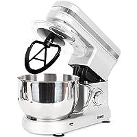 Duronic SM100 Robot patissier multifonction de cuisine avec batteur / mélangeur / pétrisseur compact avec bol en inox de 4 litres et couvercle / Batteur sur socle idéal pour patisserie, crêpes, blancs en neige, pains, brioches