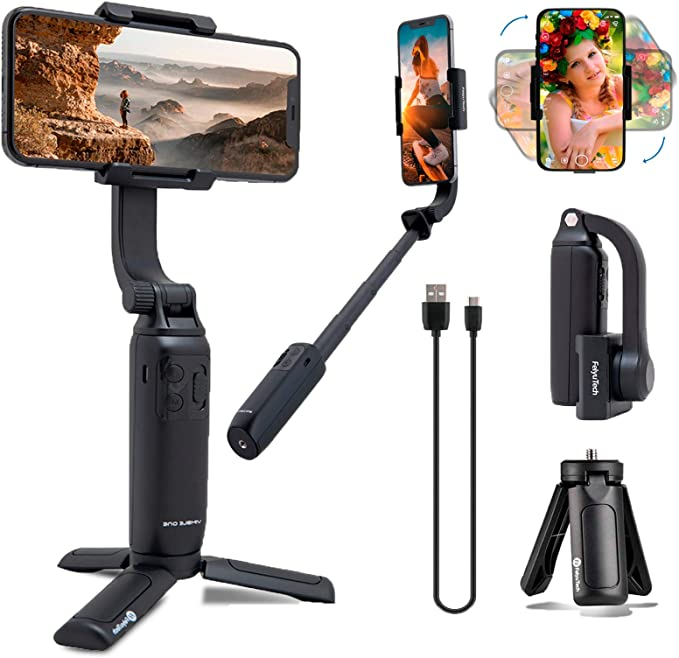 FeiyuTech 3-Axis Gimbal Stabilizer for Smartphone with 18cm Extensional Stick Vimble 2S Handheld Gimbal for iPhone Samsung Android Phones for YouTube Film Selfie Live Streaming and Video Making