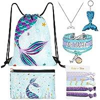 WERNNSAI Mermaid Drawstring Pack - Blue Sequins Mermaid Gift for Girls Drawstring Backpack Cosmetic Swimming Pencil…