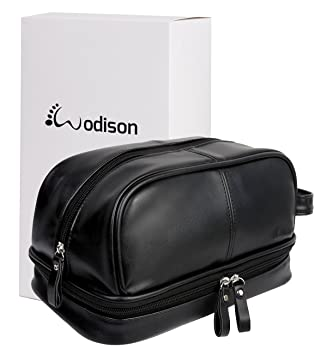 Image Unavailable. Image not available for. Colour  WODISON Large Toiletry  Bag Organizer Kit Wash Bag Travel Black For Men Pu Leather 3c228b2d2e