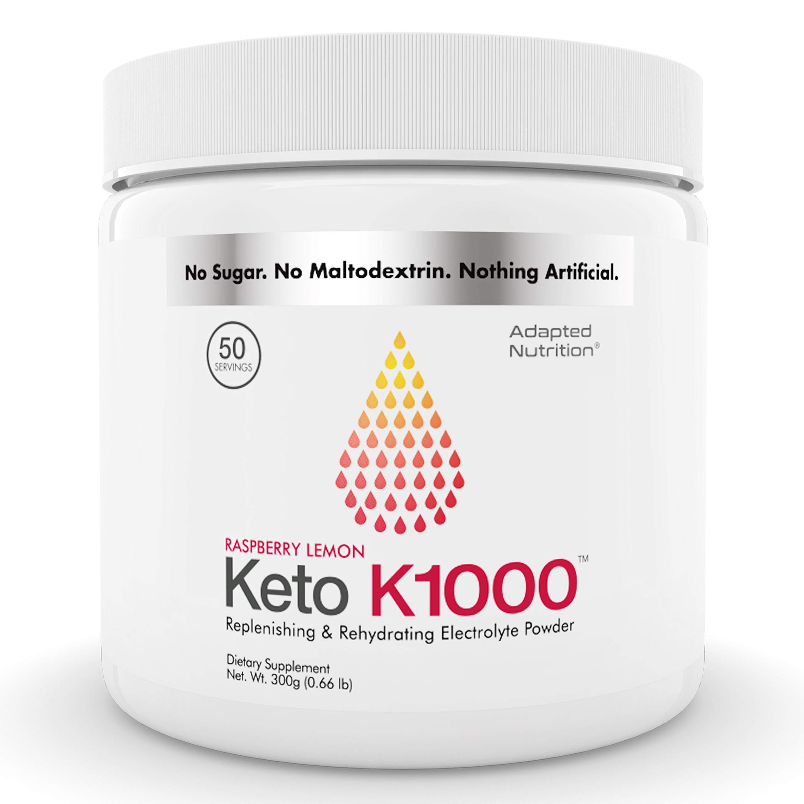 Keto K1000 Electrolyte Powder | Boost Energy & Beat Leg Cramps | No Maltodextrin or Sugar | Raspberry Lemon | 50 Servings by Hi-Lyte