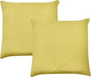 David's Home Waffle Throw Pillow Covers 100% Cotton Home Decorative Square Euro Sham Cover for Bed Couch Sofa Pack of 2 65cm x 65cm Bright Yellow