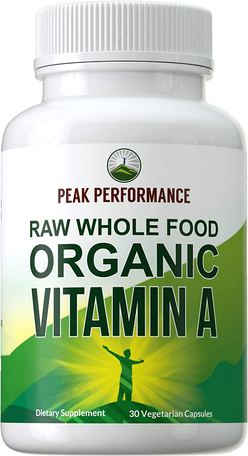 Organic Vitamin A (USA Sourced) Raw Whole Food Vegan Capsules Supplement by Peak Performance. High Potency Vitamins with Organic Carrot Juice. Great for Immune, Skin, Eye Support. Vegan Pills, Tablets