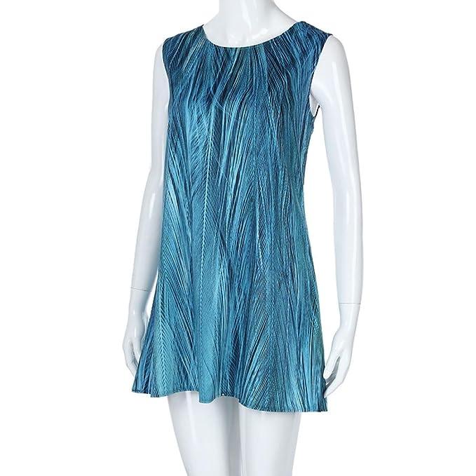 Igemy- Vestido Corto para Mujer, Estilo Vintage, sin Mangas, Estampado Floral 3D, Estilo Bohe Tank: Amazon.es: Deportes y aire libre