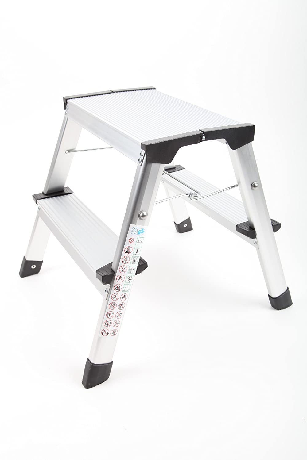 point-home Folding Step Stool 2 Steps Aluminium