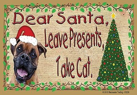 Brindle Boxer querido Santa Leave regalos tener gato en Navidad ...