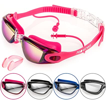 0c2fc0301d0 Pink   Proworks Swimming Goggles with Mirrored Lenses