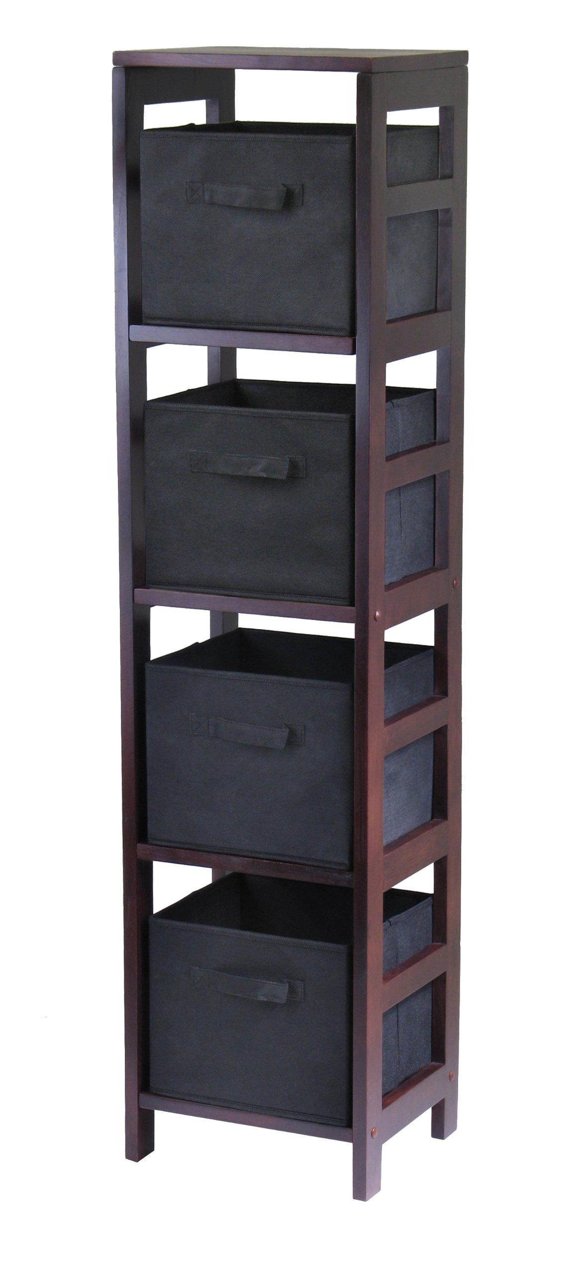 Winsome Wood Capri Wood 4 Section Storage Shelf with 4 Black Fabric Foldable Baskets