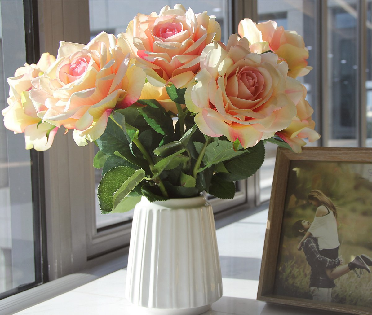 FAR SELECTIONS fangzhenhua1 Artificial Silk Flowers Fake Rose for Home Garden Party Wedding Decoration(Champagne)