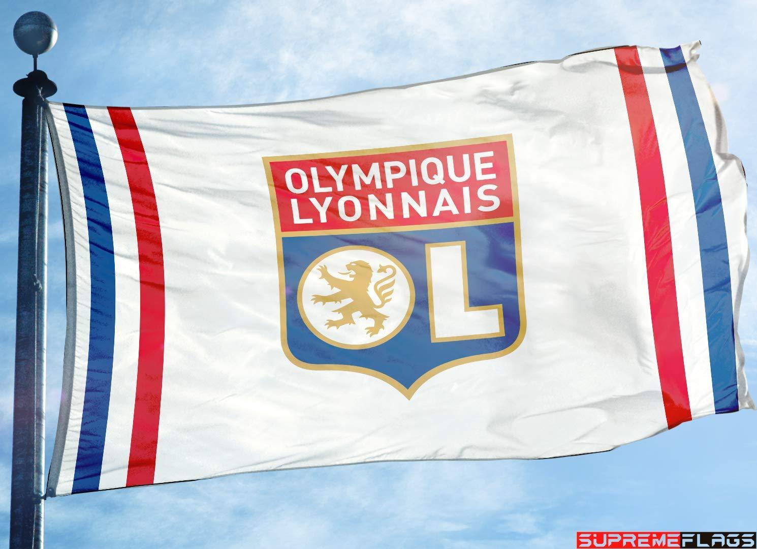 90 x 150 cm White Lyonnais France Football Soccer Drapeau Olympique Lyon Flag Banner