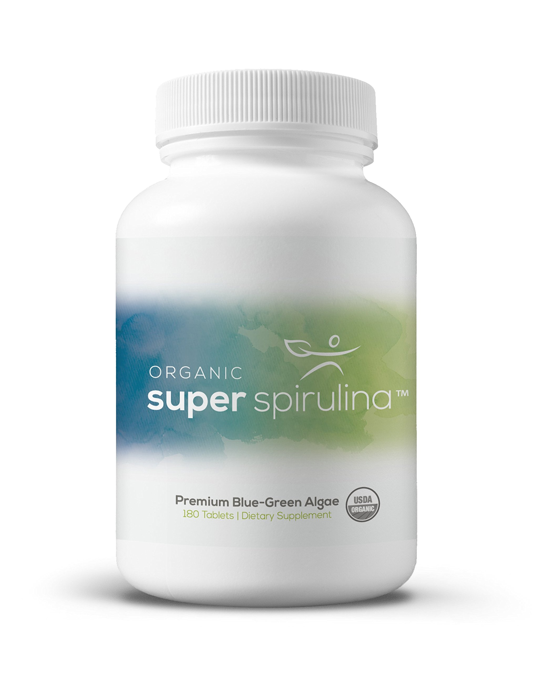 Super Spirulina® Pure USDA Certified Organic Spirulina Tablets - Blue Green Algae Superfood Supplement - No Additives or Chemicals - Raw, Non GMO, Non-Irradiated Microalgae - 500 mg Tablets, 180 Count