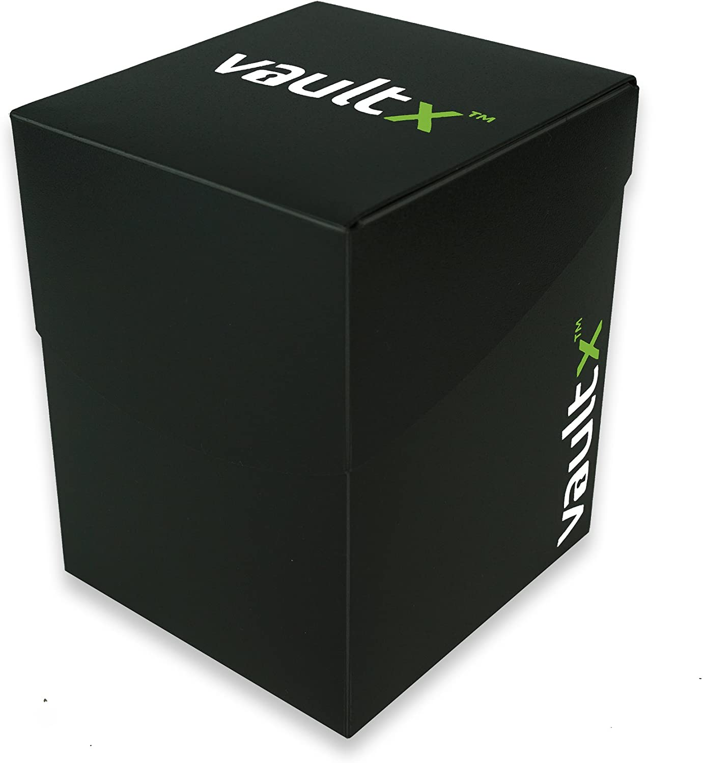 Vault X Deck Box and 150 Black Card Sleeves Black PVC Free Card Holder for TCG Large Size for 120-130 Sleeved Cards