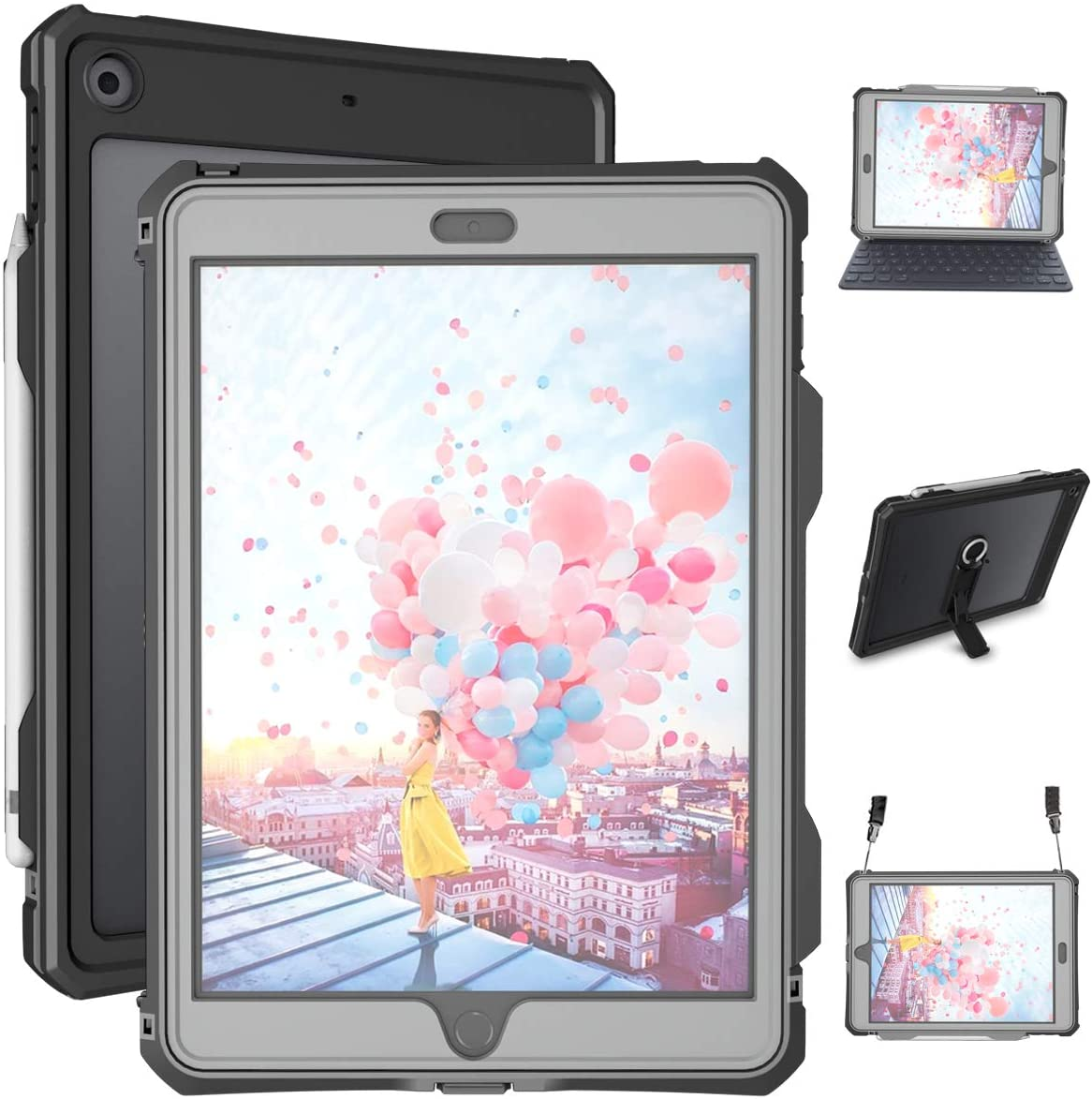 iPad 10.2 Case - Waterproof iPad 7th Generation Case 2019 Full Body Protection Bumper Case for iPad 7 gen 10.2 inches Shockproof Anti-Scratch with Strap Stand Pencil Holder