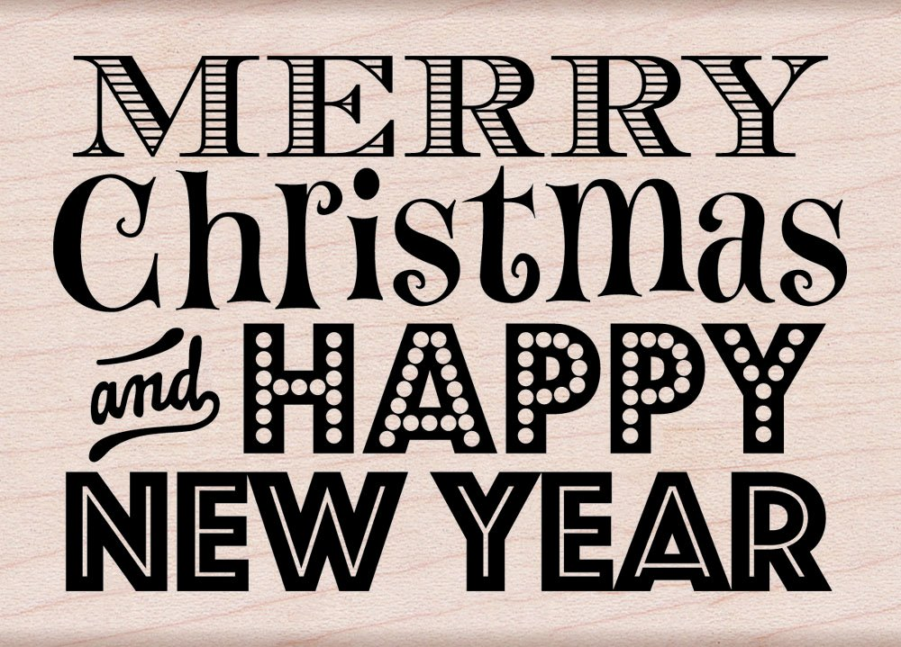 Hero Arts Rubber Stamps Merry Christmas and Happy New Year Woodblock Stamp Inc. K5606