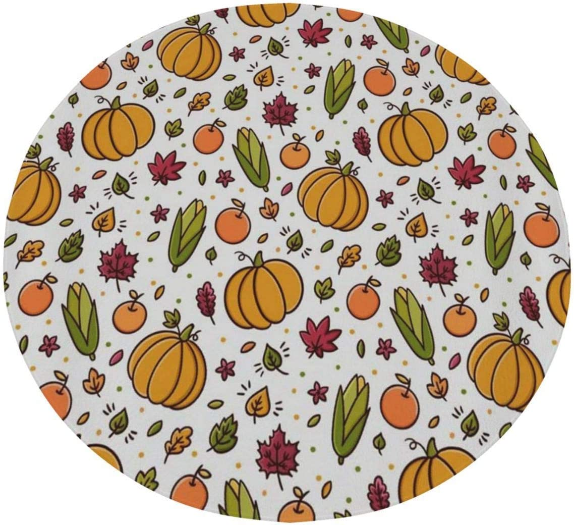 Personalized Throw Blanket Round Thanksgiving Leaves Apples Pumpkins Corns Harvest Circle Novelty Funny Fun Cool Customized Unique Designer Special Marvellous Cozy Soft Blankets For Couch Bed Women Me