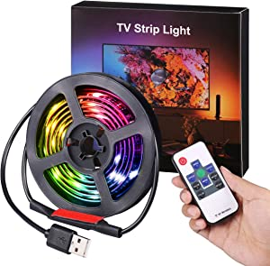 AMIR (2019 Upgraded) Led Strip Lights, 3.3ft USB LED TV Backlight Kit with Remote, 19 Modes 20 Color Changing 5050 RGB Waterproof IP65 LED Bias Lighting for TV, Desktop PC