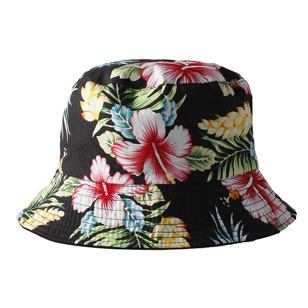 Accessoryo Unisex Black Reversible Bucket Hat with Multi Colour Floral Print