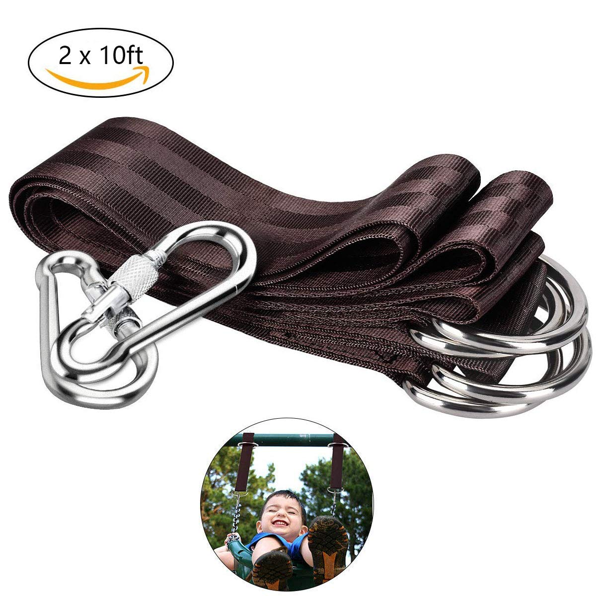 Tree swing harness pendant set can hold 2200 lbs - 2 x 10 ft long outdoor swing sling and buckle carabiner hooks, easy and quick installation 100% weather / waterproof perfect for tree swings and hamm