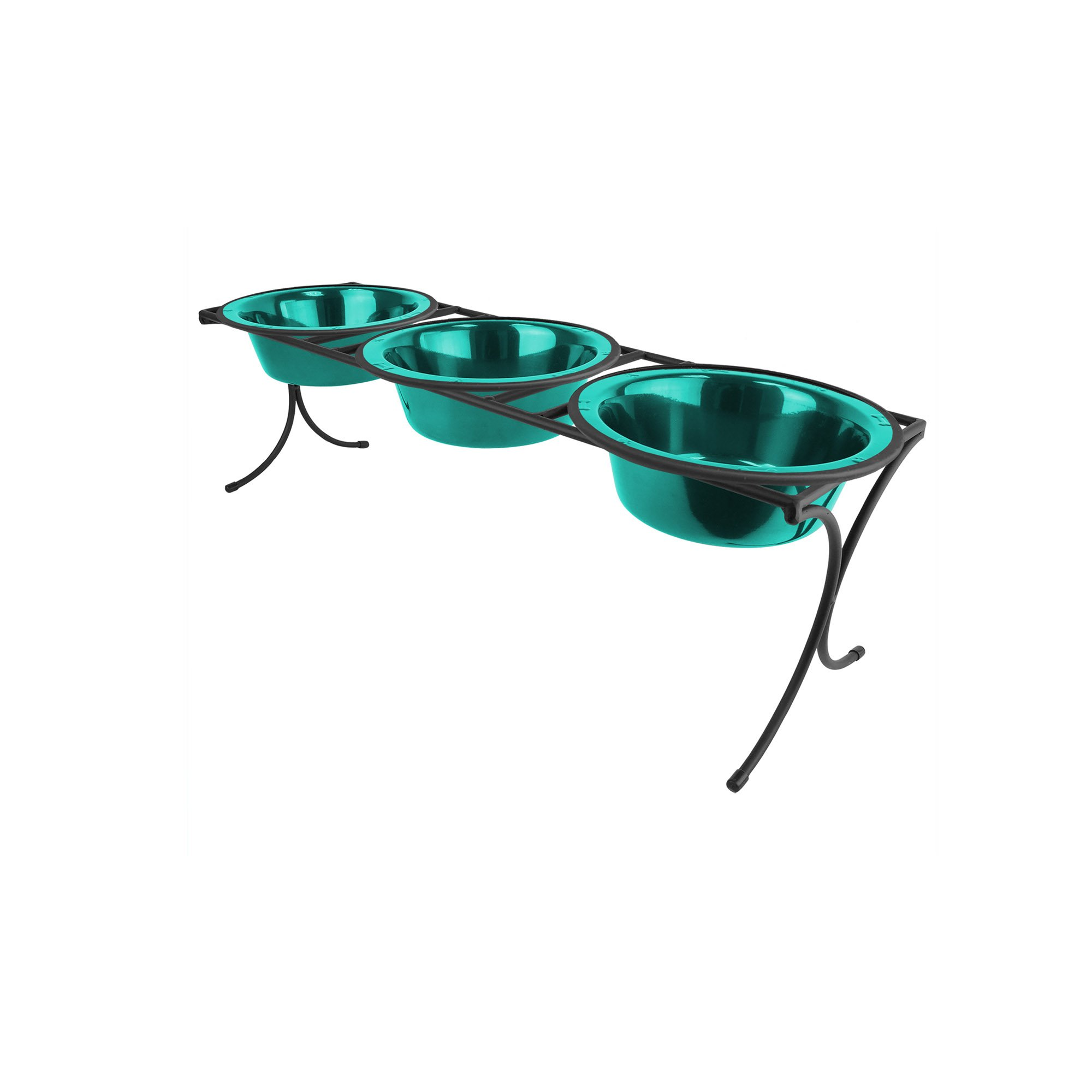 Platinum Pets 2 Cup Bistro Triple Raised Feeder with Stainless Steel Wide Rimmed Bowls, Caribbean Teal