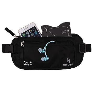 Hibote Cinturón dinero para el viaje Ocultos Seguridad bolsa de la cintura Monedero RFID integrada bloqueo Negro con conexión RFID mangas