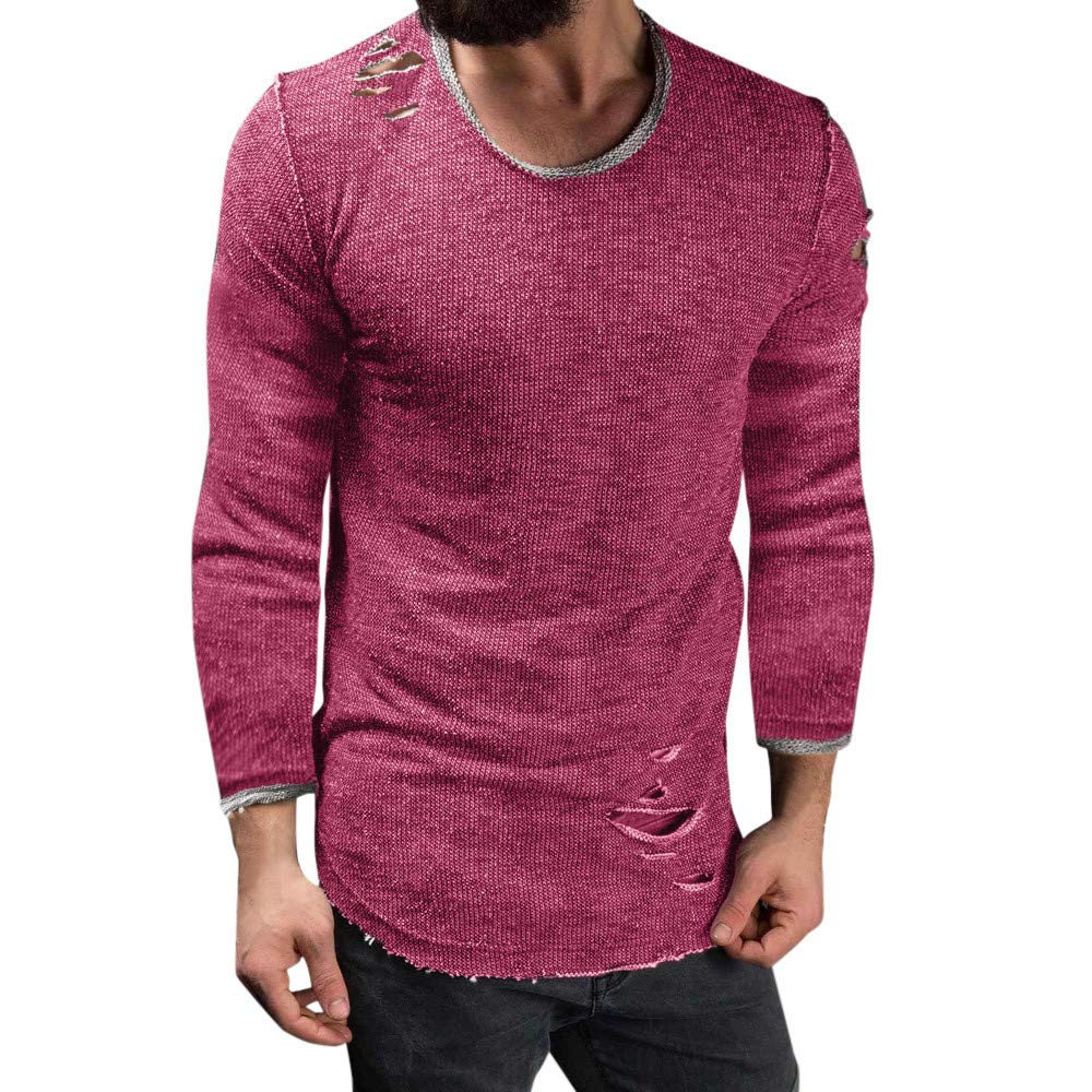 Mens Long Sleeve Blouse, Balakie Solid Slim Fit O Neck Muscle T-Shirt Hole Tops(Pink,L)