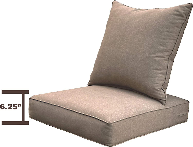 Sewker Outdoor Chair Cushion, 24x24 Deep Seat Patio Furniture Replacement Cushions Set - TAN