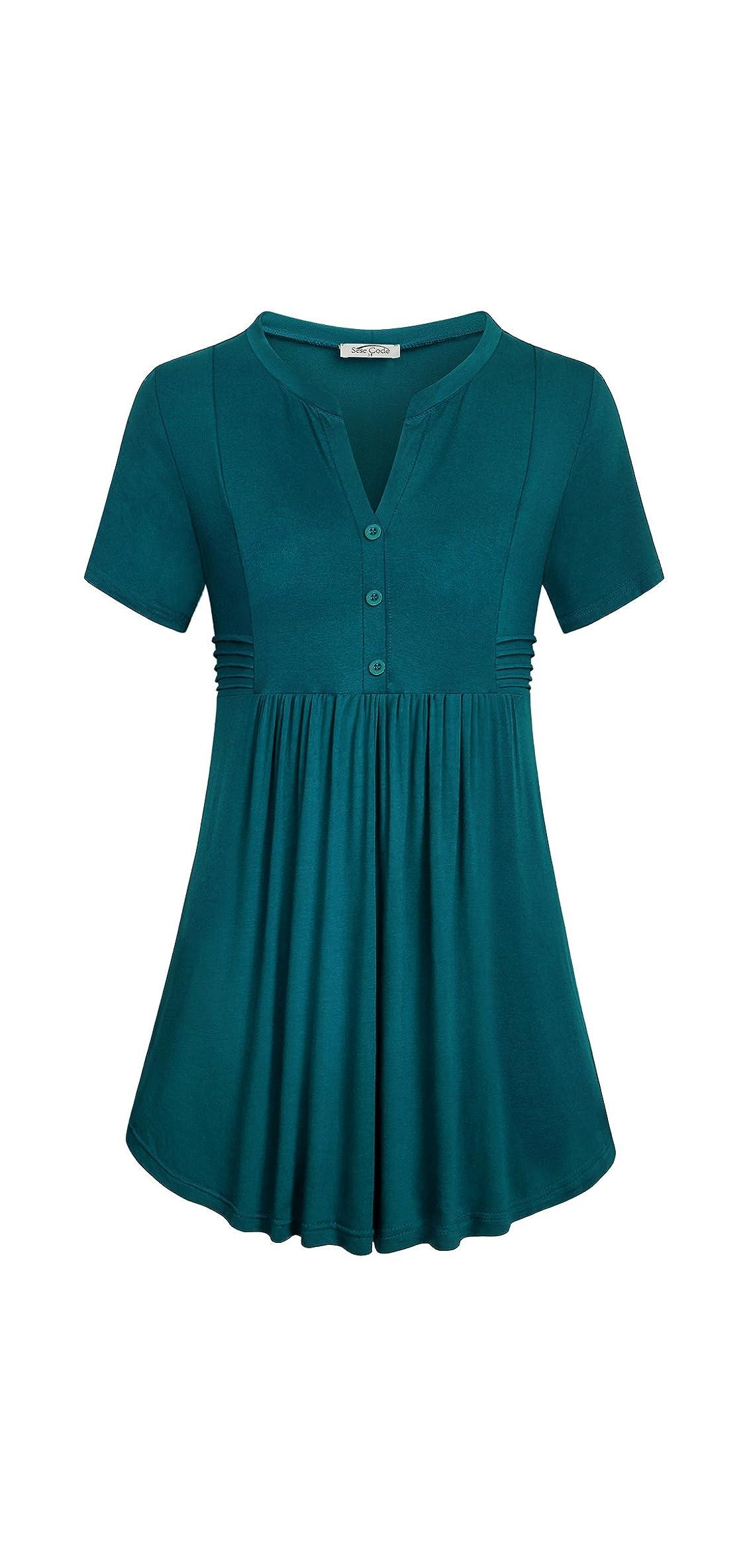 Women's Short Sleeve Notch V Neck Empire Waist Tunic