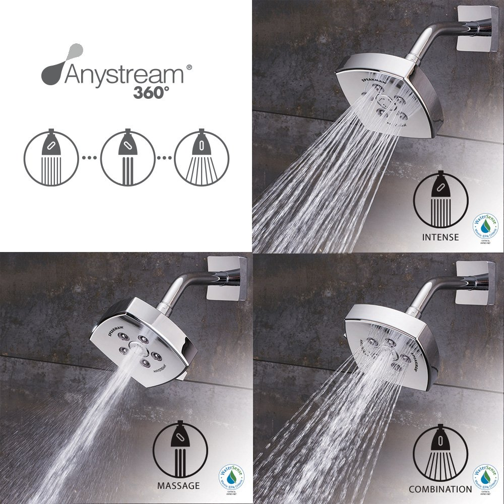 Speakman S-3023-BN Tiber Anystream High Pressure Adjustable 2.5 GPM Shower Head Brushed Nickel