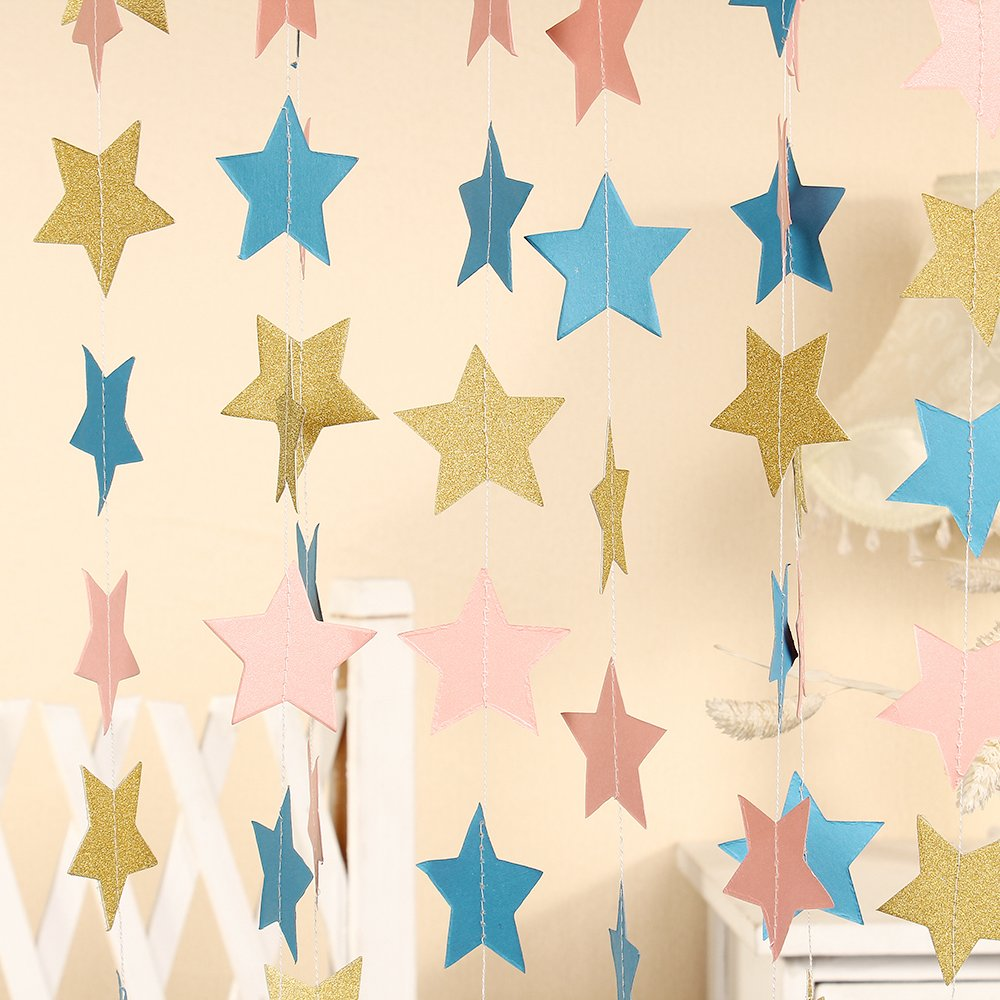 Paper Five-pointed Star Garland Dots Hanging Decor, Five-pointed Star Event & Party Supplies,5.1cm high,3m(Sky blue Pink Gold,2pc)   B071LHGSVT