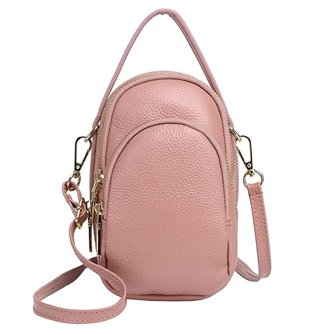Amazon.com  Zg Real Leather Small Cute Crossbody Cell Phone Bag with  Shoulder Strap  Clothing 8966019376b14