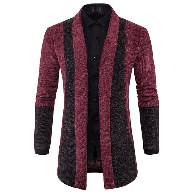 Winter Autumn Mens Cardigan Suit Slim Fit Knit Lapel Sweater Fashion Long Trench Coat Jacket (Gray, L)