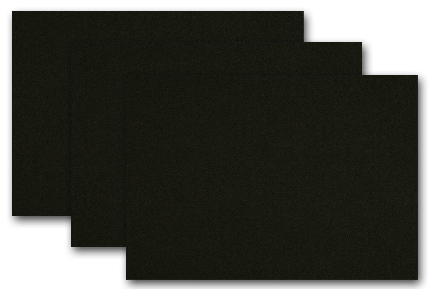 Premium Colored Blank 5x7 Card Stock (250, Black Licorice) by CutCardStock