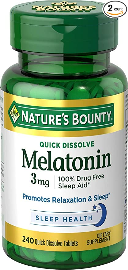 Melatonin 3 mg, 2 Bottles (240 Count)