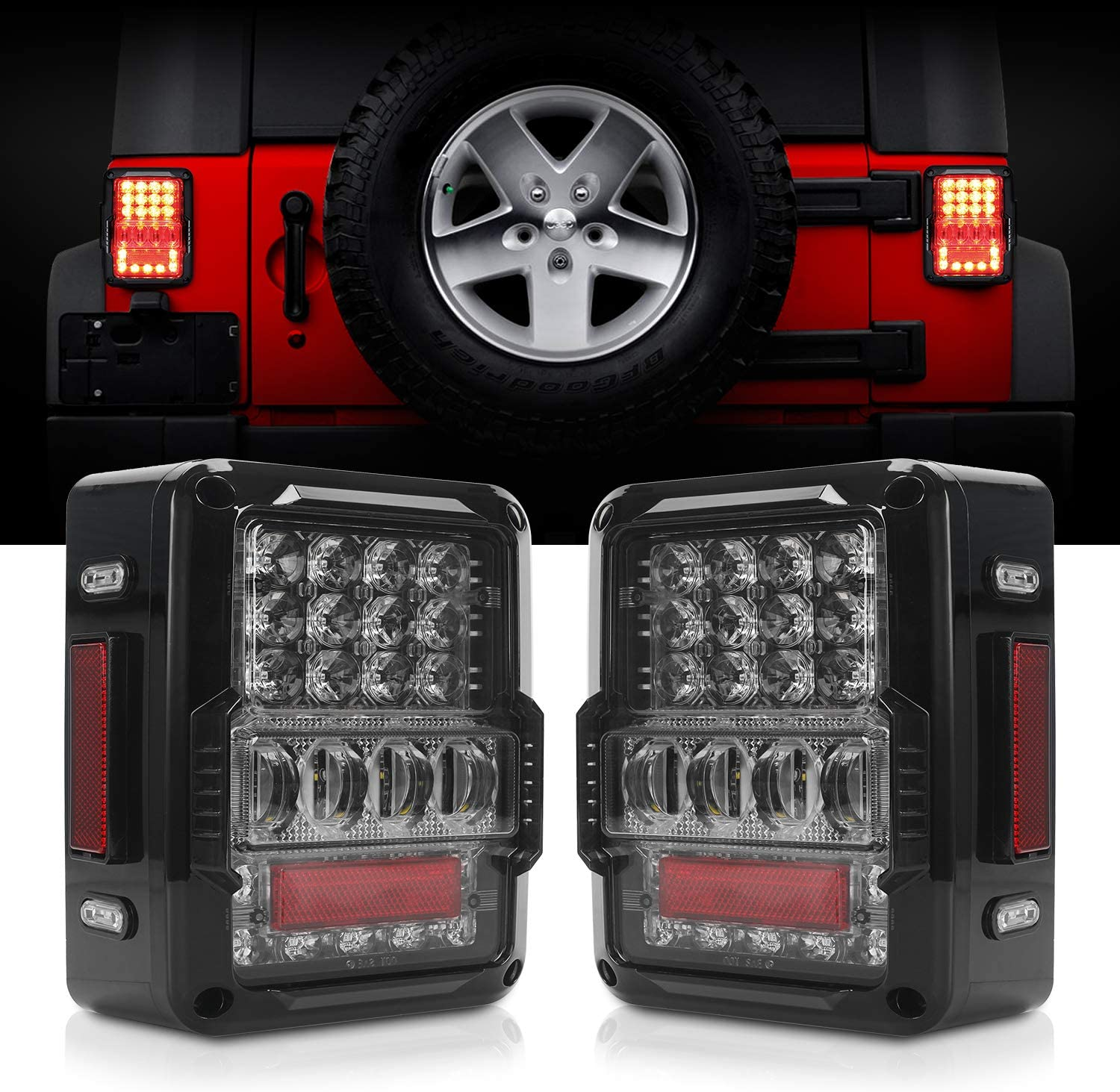 Amazon.com: DOT Approved 4D LED Tail Lights Compatible with 2007-2017 Jeep Wrangler  JK Brake Reverse Light Rear Back Up Lights Daytime Running Lamps,EMC  Build-in: AutomotiveAmazon.com