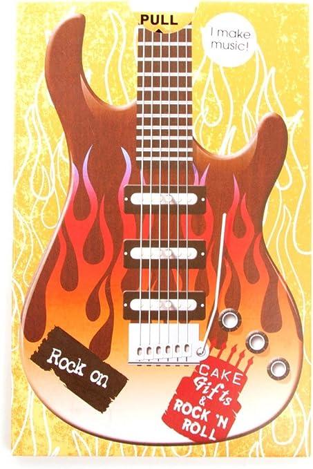 Amazon.com: Roca sobre guitarra Cumpleaños Tarjeta de sonido ...