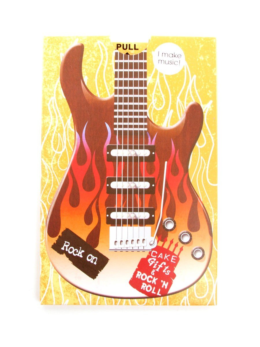 Rock on guitar birthday sound card amazon kitchen home bookmarktalkfo Choice Image