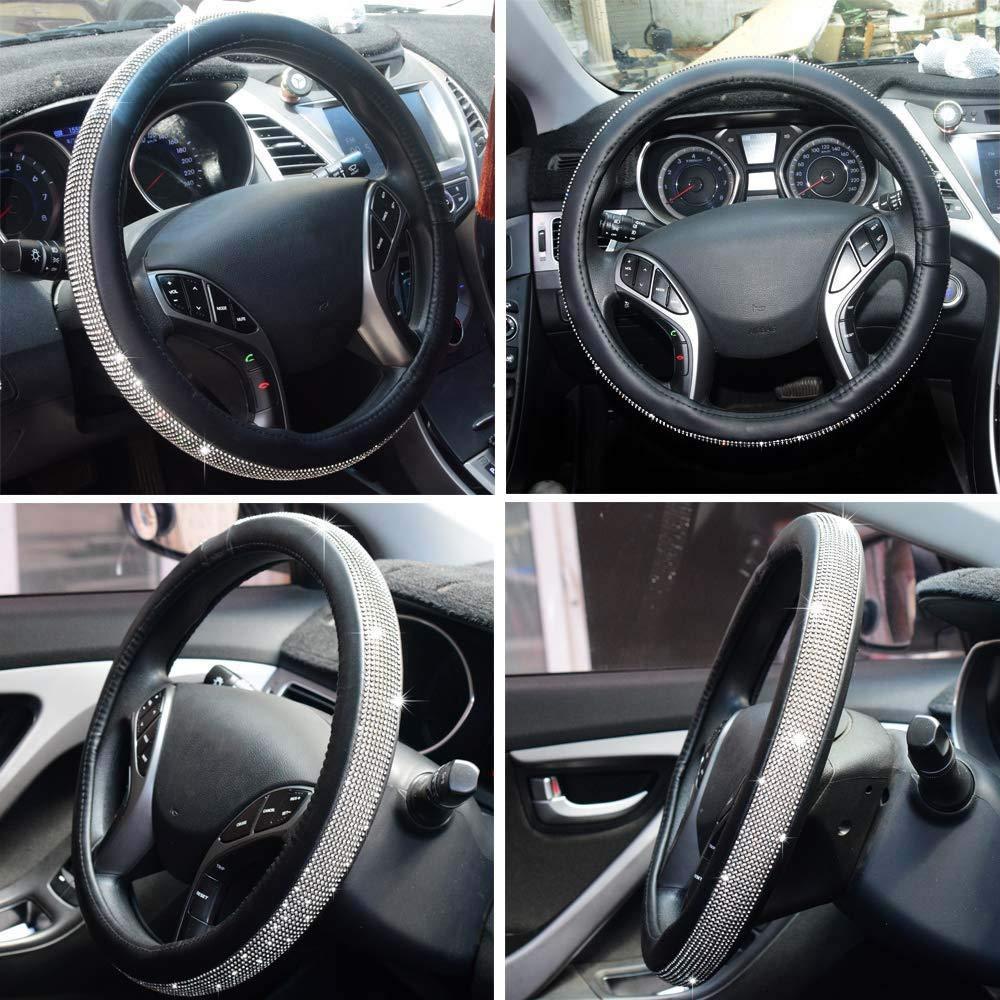 black 1 KKmoon Car Novel Shinning Crystal Leather Steering Wheel Cover