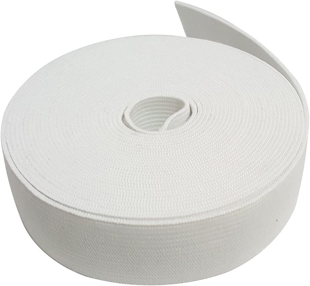 1 Wide 5 Meters Long White Springy Stretch Knitting Elastic Band Spool with High Elasticity