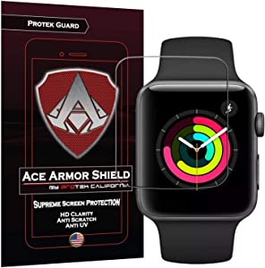 Apple Watch 38MM Series 3/2 / 1 Screen Protector (6-Pack), Ace Armor Shield Full Coverage Screen Protector for Clear Anti-Bubble Film