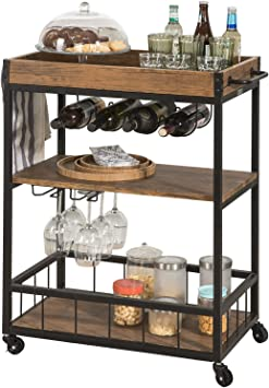 Amazon Com Haotian Fkw56 Modern Design 3 Tiers Kitchen Trolley Serving Trolley With Wine Rack Metal Mdf Brown Bar Serving Carts