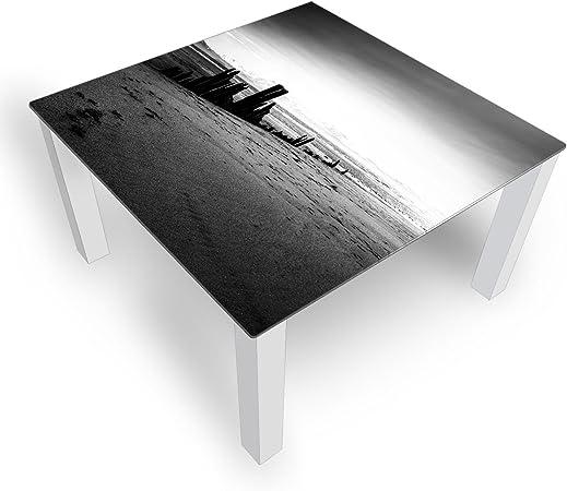 Dekoglas Salontafel Strand Grijs Glazen Tafel Bijzettafel Voor Woonkamer Motief Koffietafel 100x100 Cm In Zwart Of Wit Amazon Nl