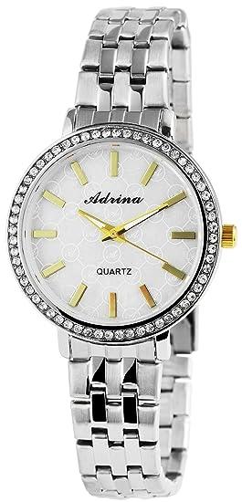 Reloj mujer Blanco Plata Oro Analógica brillantes metal Reloj de pulsera: Amazon.es: Relojes
